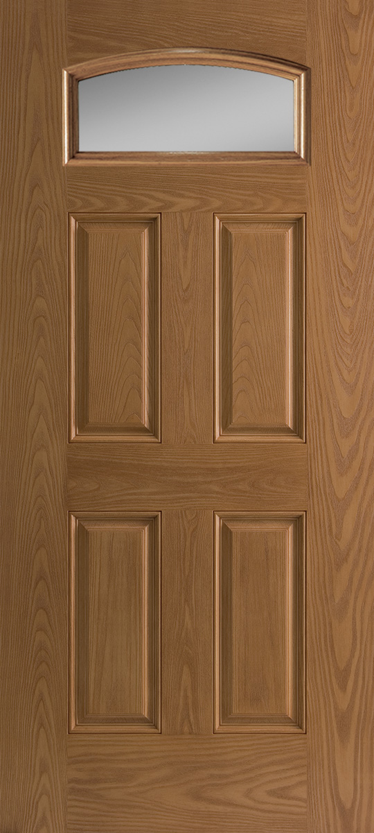 Oak textured fiberglass exterior door 4 panel with small lite cambertop